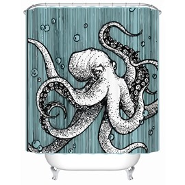 Inkfish Pattern Polyester Material Mildew Resistant Bathroom Shower Curtain