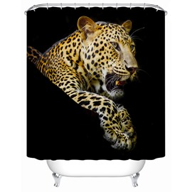 Leopard Pattern Waterproof Polyester Material Bathroom Shower Curtain
