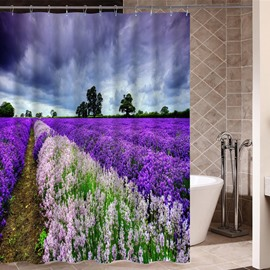 Lavender Pattern Polyester Material Waterproof Bathroom Shower Curtain