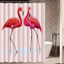 Flamingos Pattern Waterproof Mold and Mildew Resistant Shower Curtain