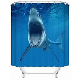 Ocean Shark Pattern Mold Resistant Waterproof Polyester Material Shower Curtain