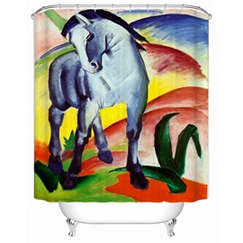 Colorful Horse Pattern Mold Resistant Polyester Material Shower Curtain