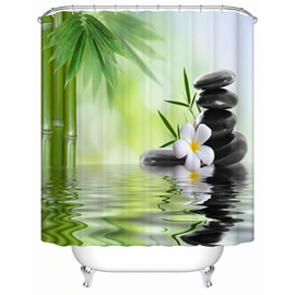 Flowers&Bamboos Pattern Waterproof Polyester Material Shower Curtain