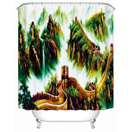 Great Wall Pattern Mold Resistant Polyester Material Bathroom Shower Curtain