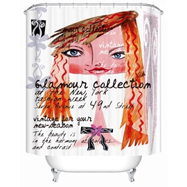 Big Head Pattern Mildew Resistant Polyester Material Shower Curtain