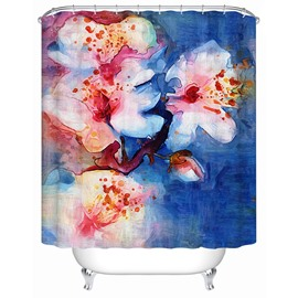 Peach Blossom Pattern Mildew Resistant Polyester Material Shower Curtain
