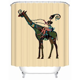 Deer Pattern Waterproof Polyester Material Bathroom Shower Curtain