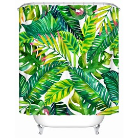 Big Green Leaves Pattern Polyester Material Waterproof Shower Curtain