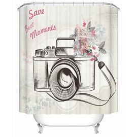 Flowers&Camera Pattern Polyester Material Bathroom Shower Curtain