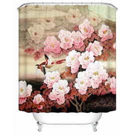 Magpie&Sakura Pattern Polyester Material Bathroom Shower Curtain