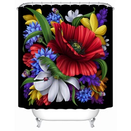 Polyester Material Flowers Pattern Mold Resistant Shower Curtain