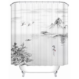 Landscape Painting Pattern Mold Resistant Waterproof Bathroom Shower Curtain