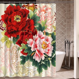 Peony Pattern Polyester Material Mold and Mildew Resistant Shower Curtain