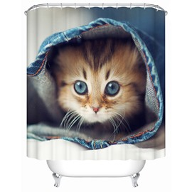 Mildew Resistant Polyester Material Cat Pattern Bathroom Shower Curtain
