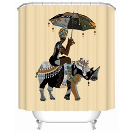 Rhinoceros Pattern Polyester Material Mildew Resistant Shower Curtain