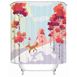 Red Trees&Fox Pattern Polyester Material Waterproof Bathroom Shower Curtain