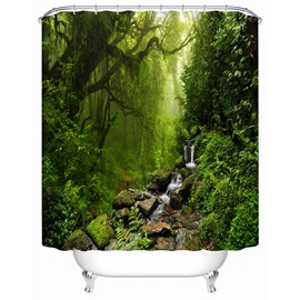 Polyester Material Plant Pattern Moist&Mildew Resistant Shower Curtain