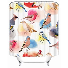 Polyester Material Colorful Birds Pattern Moist Resistant Shower Curtain