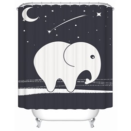 Little Cute White Elephant Pattern Mildew&Moist Resistant Shower Curtain