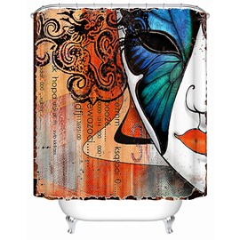 Mildew Resistant Half Face Pattern Polyester Material Shower Curtain