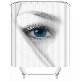 Moist Resistant Blue Eyes Pattern Polyester Material Bathroom Shower Curtain