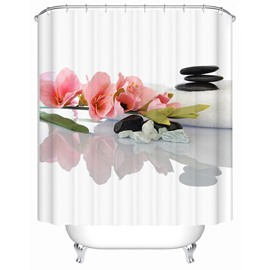 Pink Flower Pattern Polyester Material Moist Resistant Shower Curtain