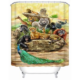 Animals Pattern European Style Mildew Resistant Bathroom Shower Curtain