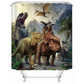 Dinosaurs Pattern Mildew Resistant Eco-friendly Material Shower Curtain