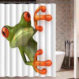 Frog Pattern Polyester Material Mildew Resistant Shower Curtain