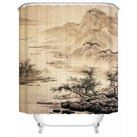 Traditional Chinese Painting Pattern Mildew Resistant Waterproof Shower Curtain