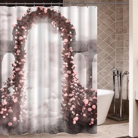 Flowers Gate Pattern Eco-friendly Material Mildew Resistant Shower Curtain