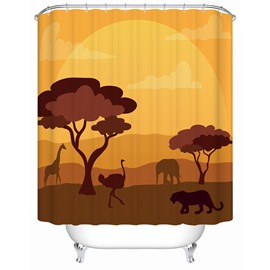 Ostrich&Lion Pattern Eco-friendly Material Mildew Resistant Shower Curtain