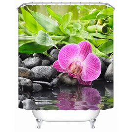 Bamboo&Butterfly Orchid Pattern Mildew Resistant Waterproof Shower Curtain