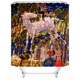 Little White Horse Pattern Waterproof Eco-friendly Material Shower Curtain