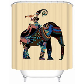 Girl&Elephant Pattern Anti-Bacterial Waterproof Mildew Resistant Shower Curtain