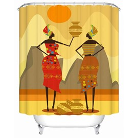 Yellow Girls&Jars Pattern Anti-Bacterial Polyester Shower Curtain
