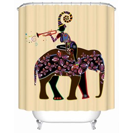 Anti-Bacterial Eco-friendly Girl&Elephant Pattern Shower Curtain