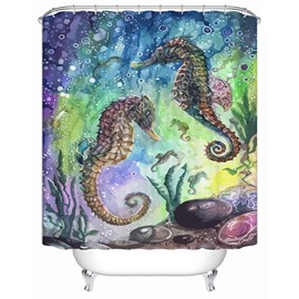 Seahorse Pattern Waterproof Anti-Bacterial Mildew Resistant Shower Curtain