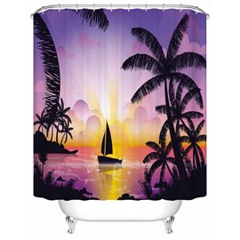 Purple Banana Leaves& Boat Anti-Bacterial Bathroom Shower Curtain
