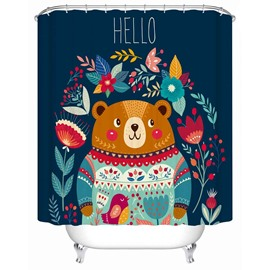 Cartoon Style Bear Pattern Anti-Bacterial Waterproof Bathroom Shower Curtain