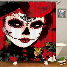 Red Skull Charming Anti-Bacterial Bathroom Shower Curtain