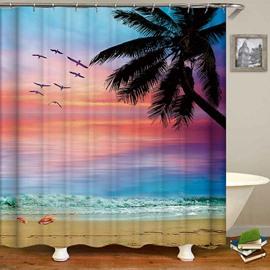 Colorful Sky Sea Beach Tree Anti-Bacterial Shower Curtain