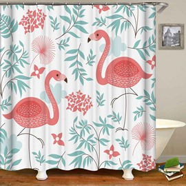 Flamingos Green Leaves Anti-Bacterial Bathroom Shower Curtain