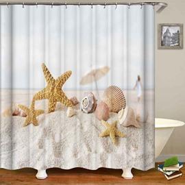 Yellow Starfish Shell White Beach Waterproof Shower Curtain