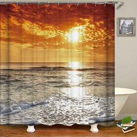 Goldern Sky Sunset Sea Waterproof Anti-Bacterial Shower Curtain