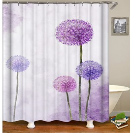 Purple Dandelion Pattern Polyester Anti-Bacterial Shower Curtain