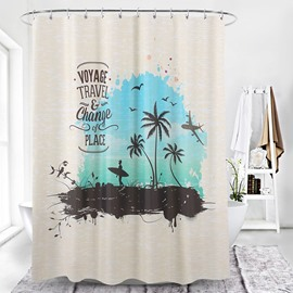 Waterproof European Style Plant Pattern Polyester Shower Curtain