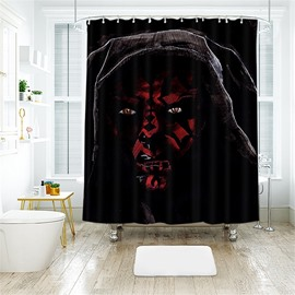 Halloween Style Black Skull PatternPolyester Anti-Bacterial Shower Curtain