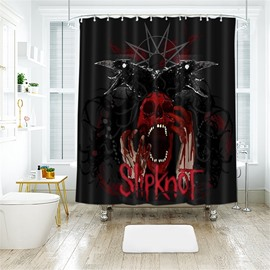 Black Monster Pattern Halloween Style Polyester Anti-Bacterial Shower Curtain