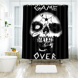 Halloween Style Skull And Letter Pattern Polyester Anti-Bacterial Shower Curtain